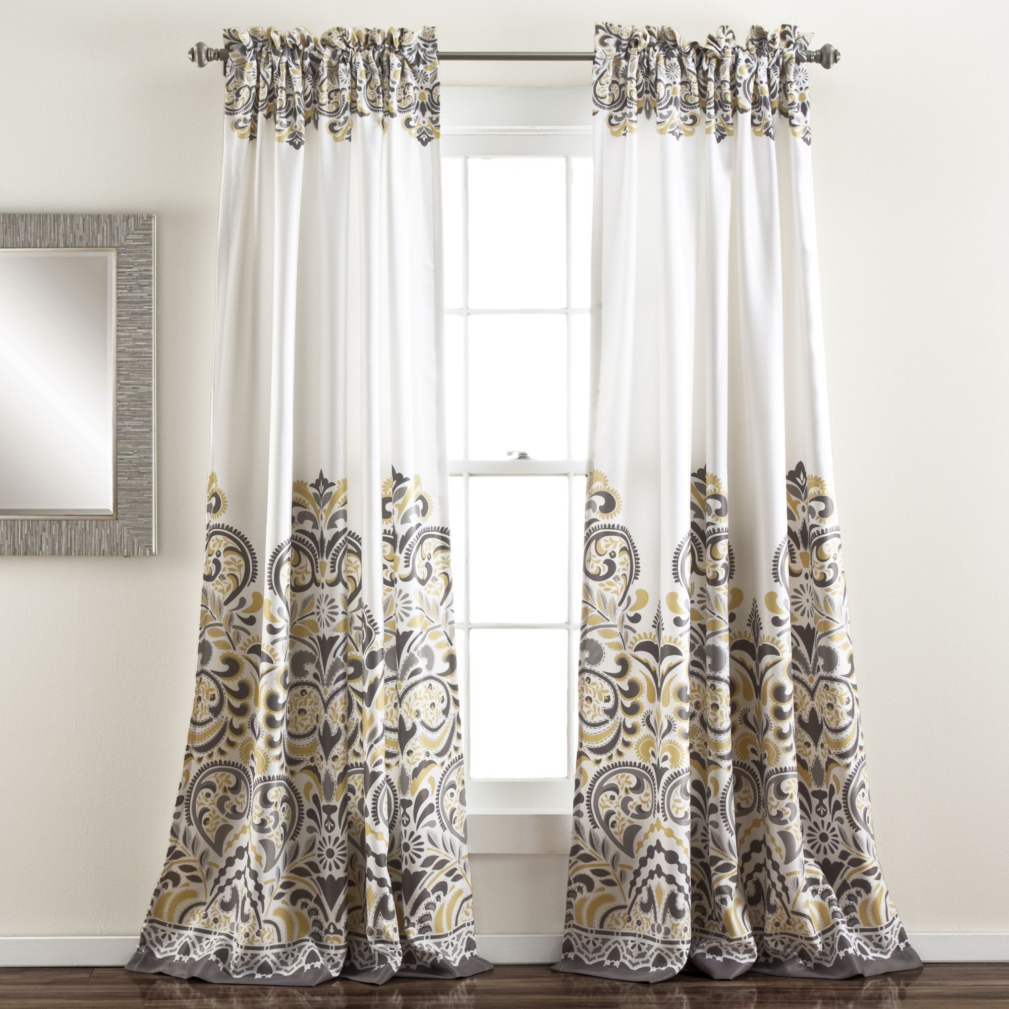 Lush Decor Clara 84 Inch Room Darkening Window Curtain Panel Pair (Gray/  Yellow