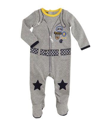 Petit Lem Racing Playsuit, Gray, NB-9 Months