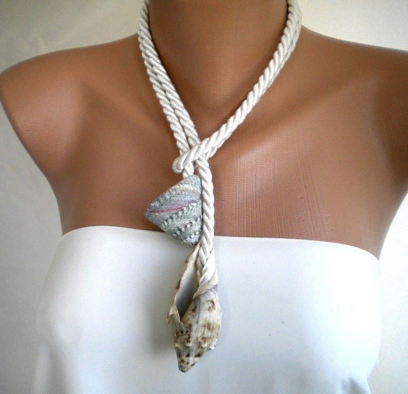 Unique Beaded Periwinkle Seashell Coloring Page: Ocean Waves Handmade Sea Shell Necklace. $48.00, Via Etsy
