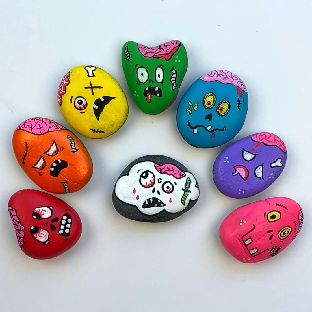 Zombie Painted Rocks - Halloween Rock Painting Tut