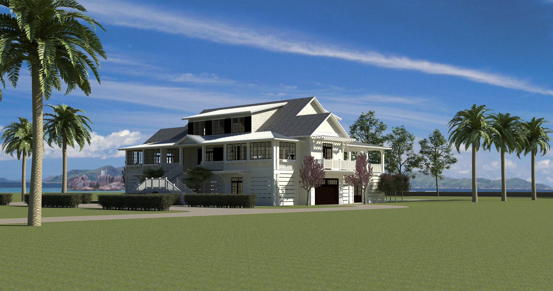 House designed by Shue Design Associates - view from northwest showing front and west facades.  For more, visit www,shueda.com #homes #design