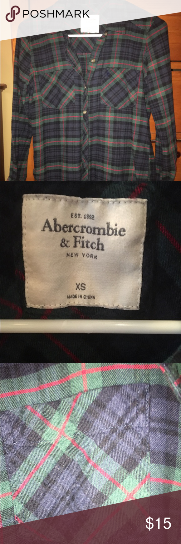 Abercrombie &Fitch Flannel shirt Abercrombie & Fitch Women's Flannel shirt.  Size XS.  Very pretty soft material.  I tried to take a pic up close so you can see the colors in the plaid.  Perfect condition. Abercrombie & Fitch Tops Button Down Shirts