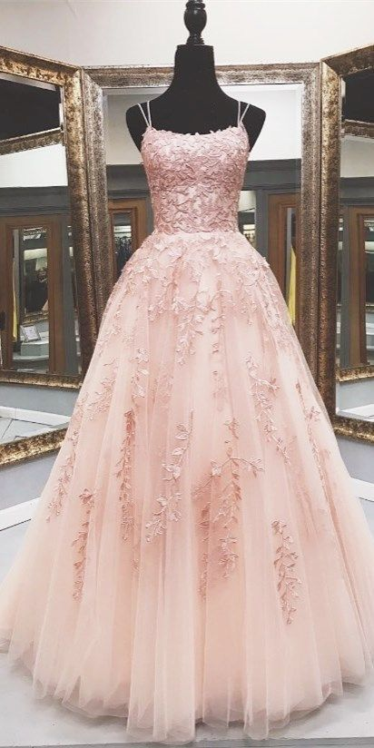 pink lace appliqued long prom dress, floor length prom dress 2020 ML6077