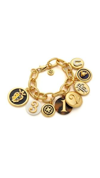Tory Burch Dellora Charm Bracelet Blazer Jacket Bracelets Gold Jewelry