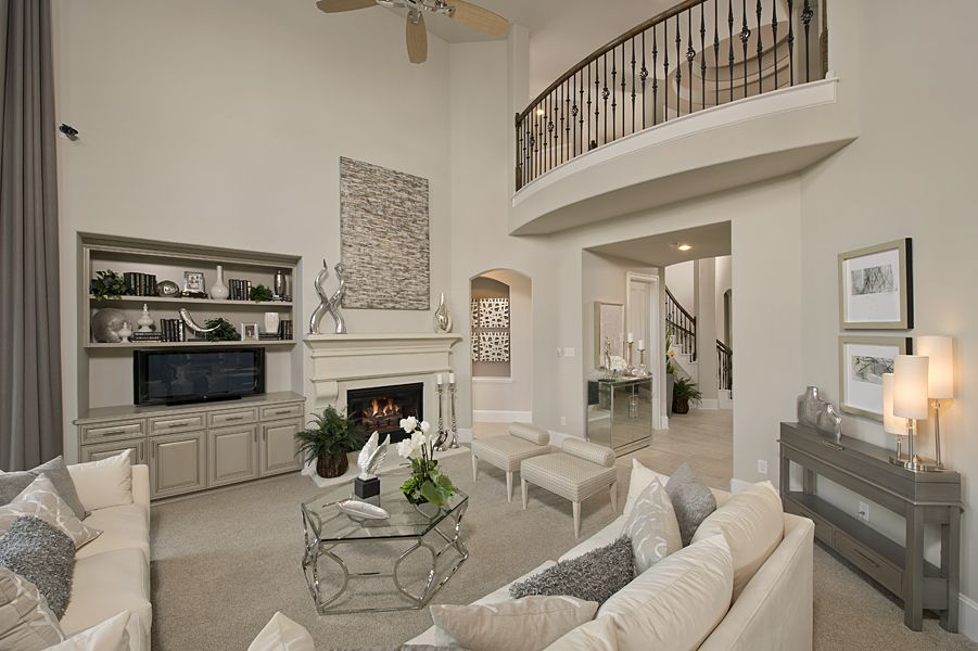 Westin Homes Bridgeland New Homes Houston The Hopkins Living Room Fireplace Floor To Ceiling Windo Westin Homes Home Living Room Design Inspiration