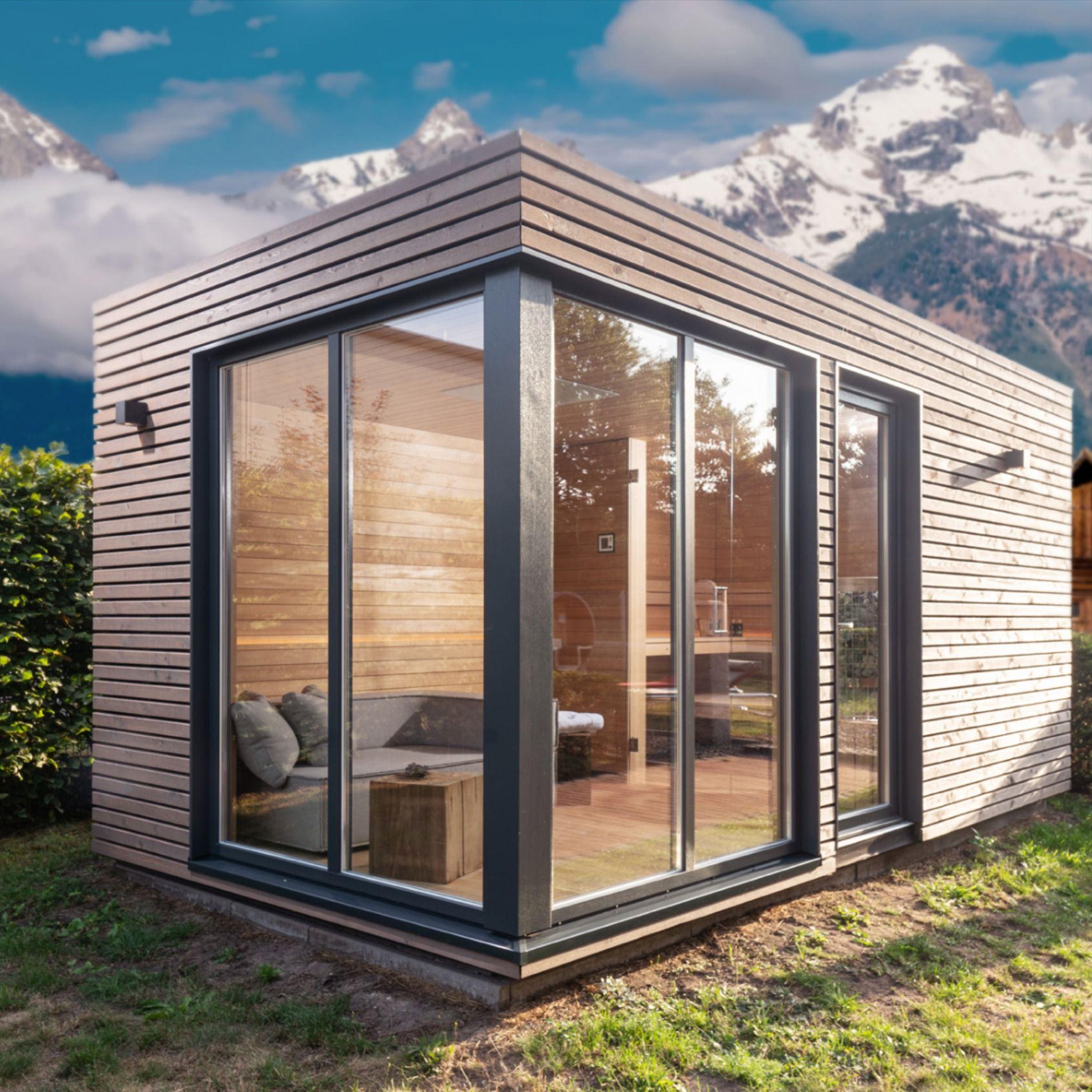 Aussensauna Mit Viel Glas Gartensauna Saunahaus Garten Gartenhaus Modern