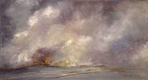 """""""Fire at the Sea"""" by Melanie Meyer available for purchase .Sized 500 cm x 900 cm"""