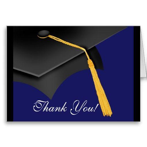 Graduation Thank You Note Card Black Blue Grad Cap  Grad Cap