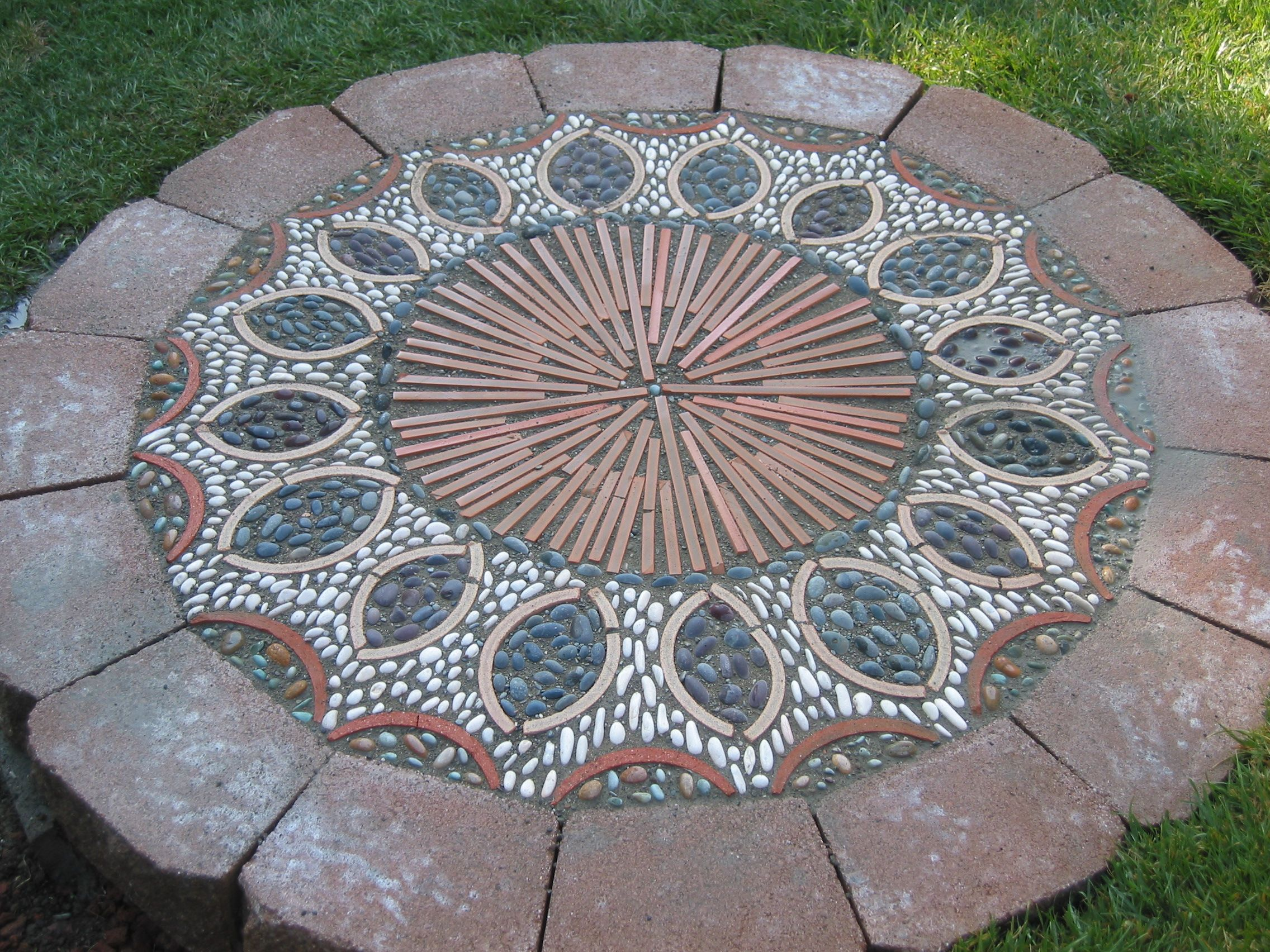 Pavers Patios With Mosaics Medium Cut Terra Cotta Roof Tiles Beach Pebbles And