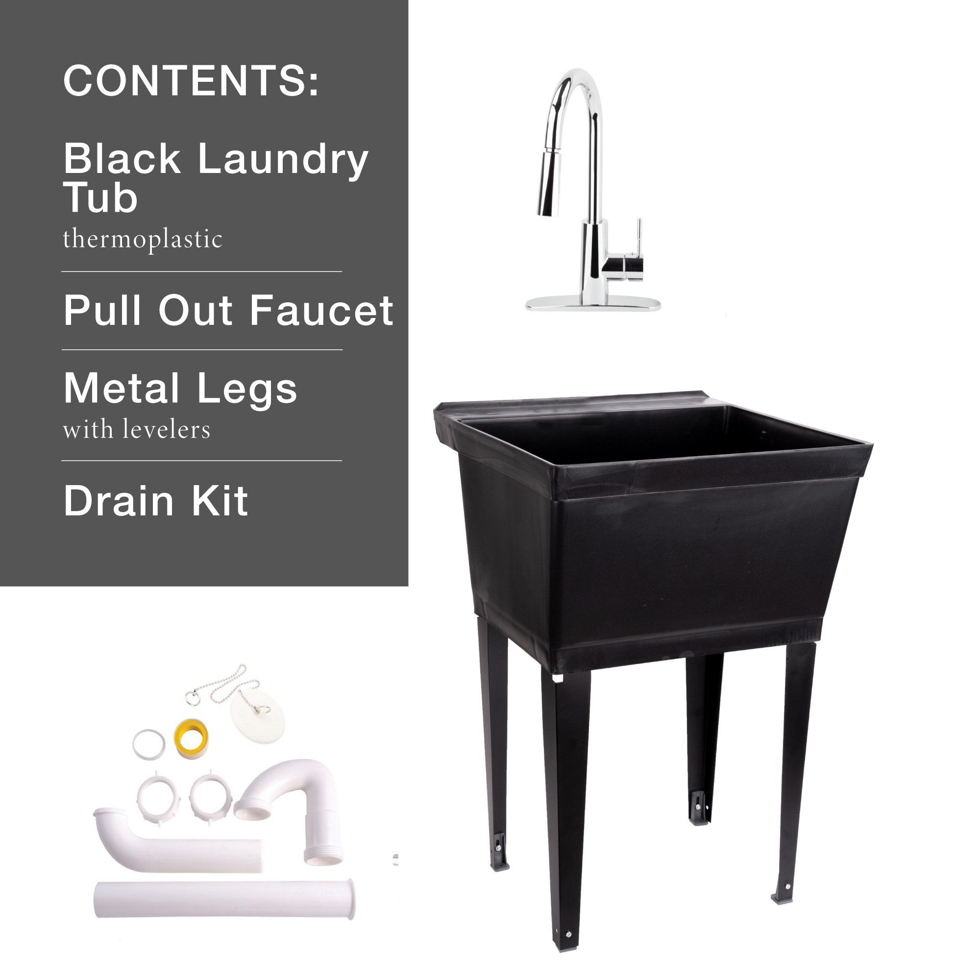 Black 19 Gallon Utility Sink Laundry Tub With High Arc Pull Down