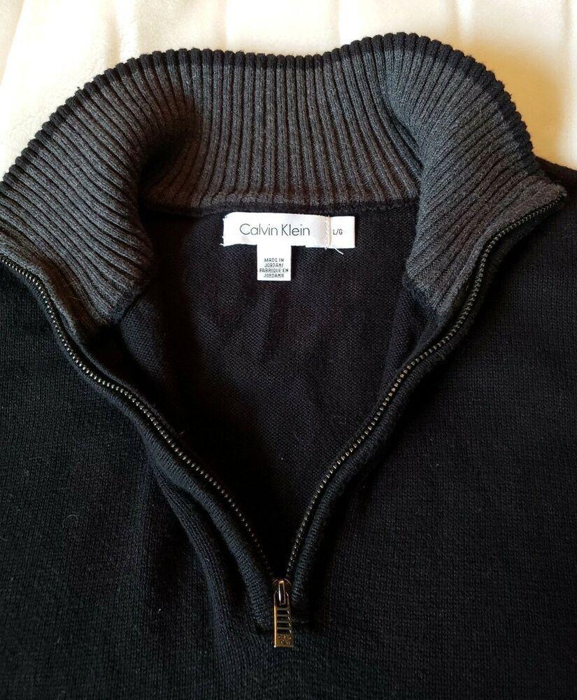 8509a7f9e Mens CALVIN KLEIN Cotton Black 1/4 Zip Pullover Sweater Jacket Size ...