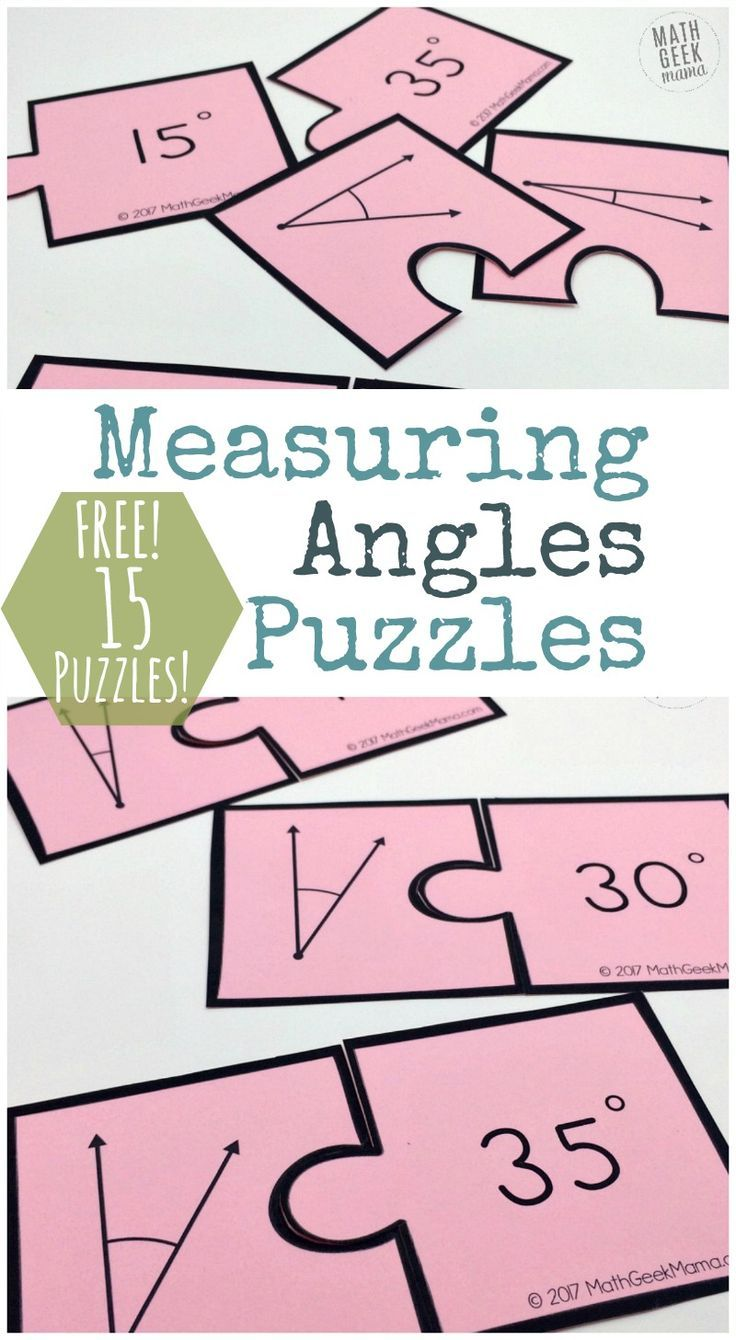Measuring Angles Activity Simple And Fun Puzzle Set Free Angle Activities Angles Math Activity Measuring Angles Activities