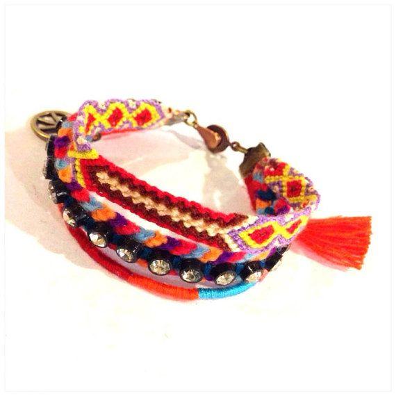 Friendship Bracelet - Bracelet with Tassel -peace sign pendant on Etsy, ฿533.00