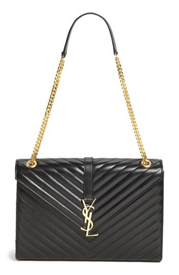 Saint Laurent Cassandre Lisse Large Shoulder Bag