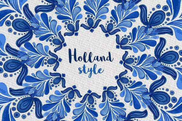 Holland Blue Watercolor ornament - Patterns
