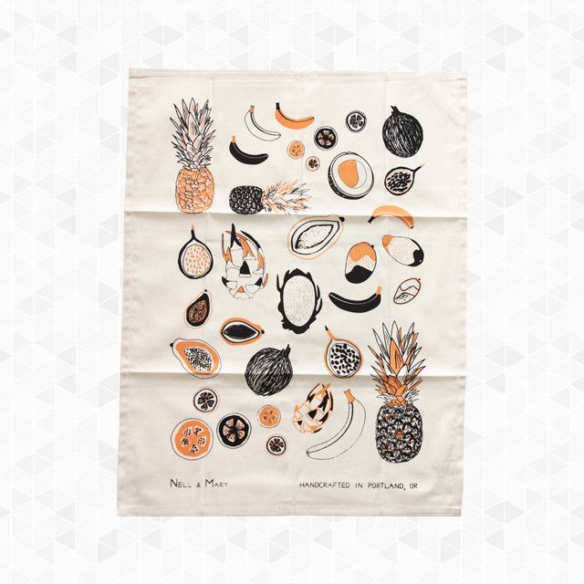 Tropical Fruit Tea Towel. From the Prickly Piña, to the Crazy Coconut, and Gorgeous Guava, this print is fresh and fun for your kitchen and table. Hand printed with water based inks, hemmed on 4 sides with a convenient loop for hanging. 100% organic cotton, hand crafted in Portland, Oregon. By Nell & Mary, $20.