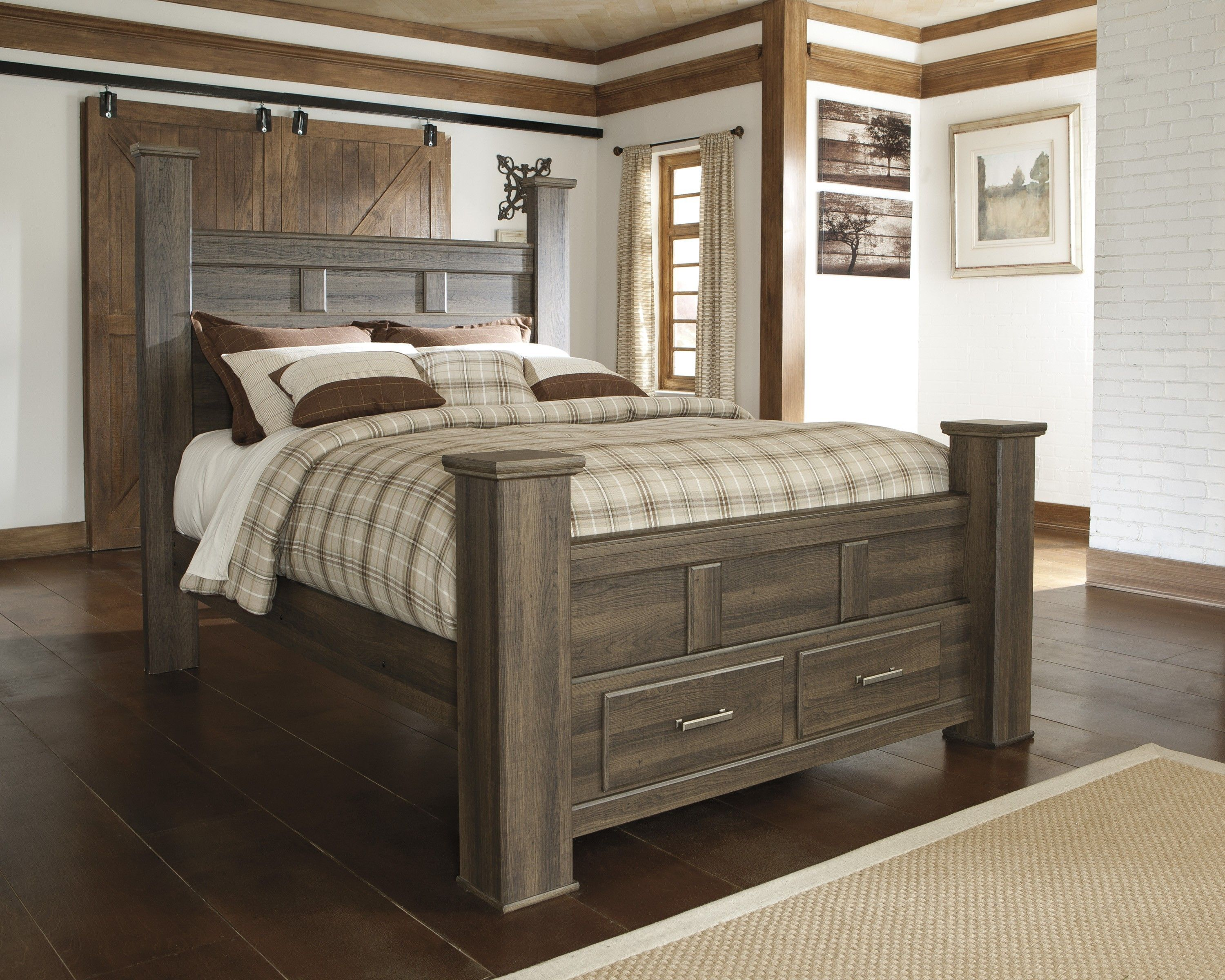 masculine dark smooth finished oak wood full size bed frame be equipped four square post and two end drawers also striped grey bedding sheet comforter and