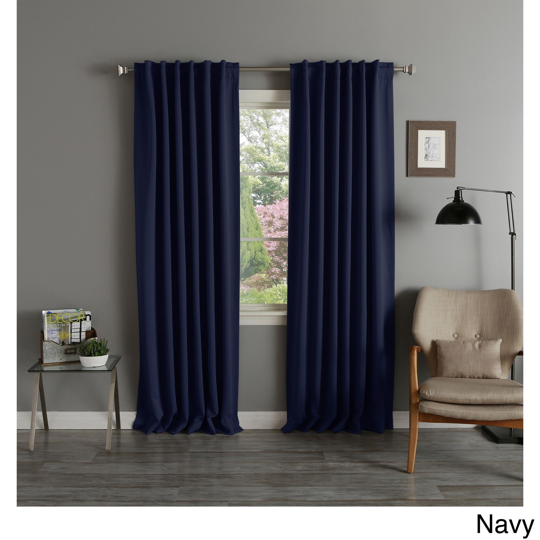 Aurora Home Thermal Rod Pocket 96-inch Blackout Curtain