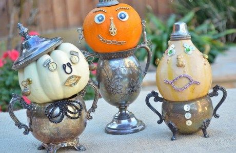 How to make a recycled yard stick Christmas tree - how to make pumpkin decorations for halloween