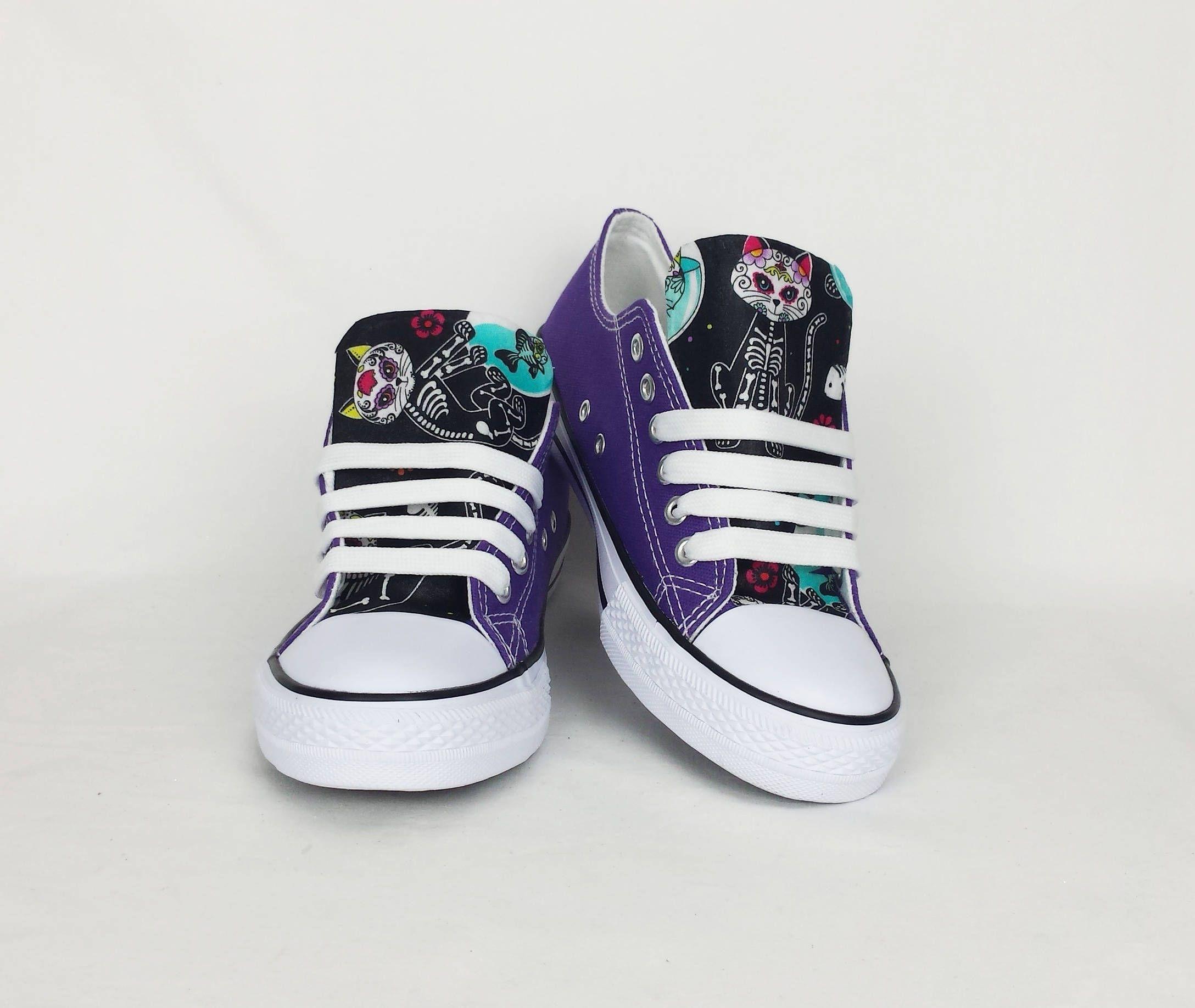 Colorful Sugar Skull High tops  Printed Canvas Shoes