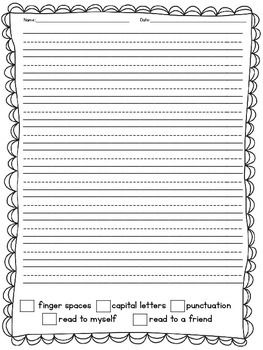Primary Writing Paper with Rubric/Self-Check-freebie