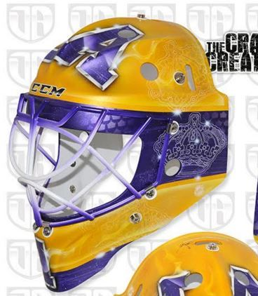 Check Out Jhonas Enroth S Awesome Retro Kings Mask Goalie Mask Mask Gold Mask