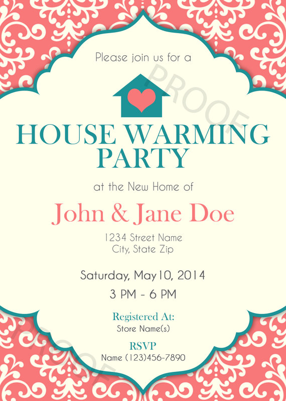 Printable Invitation House Warming Party Invitation