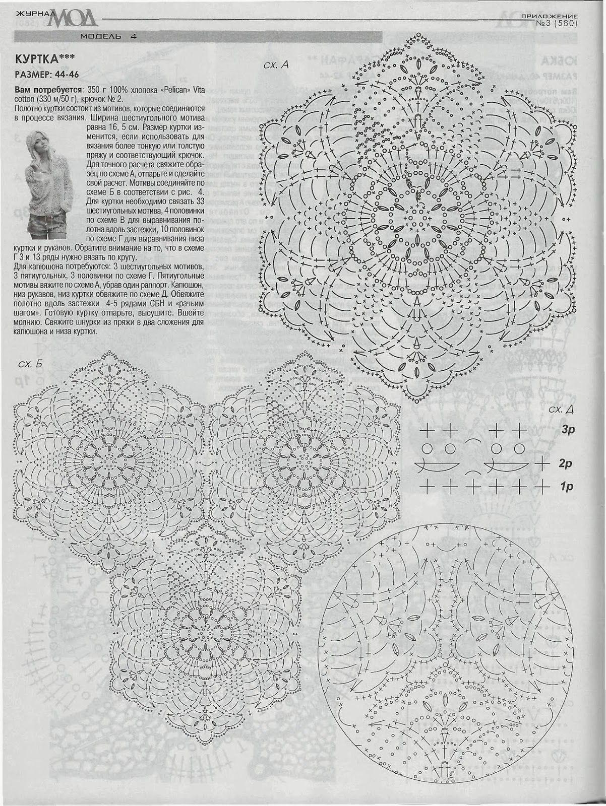 Blusa De Crochet Com Capuz Lupe Pinterest Flower Motif Motivos Hexagonales Crochetemoda Coat Blouse Jacket Clothes Doily Diagram