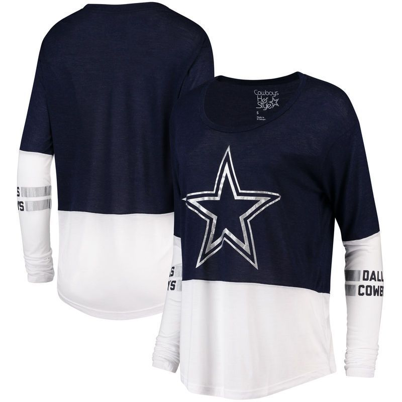 Dallas Cowboys Women s Long Sleeve Navy Two Tone Audrey T-shirt  Show your  support for the Dallas Cowboys by wearing this Womens Audrey Long Sleeve  Tee. 85504878a