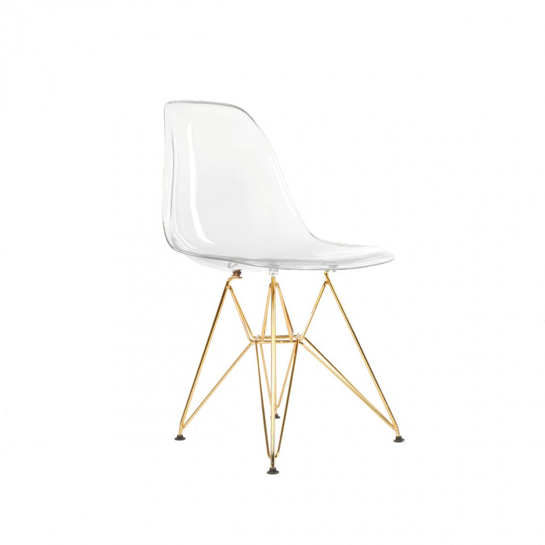 Dsr Plastic Molded Eiffel Dining Chair Gold Legs And Clear Seat