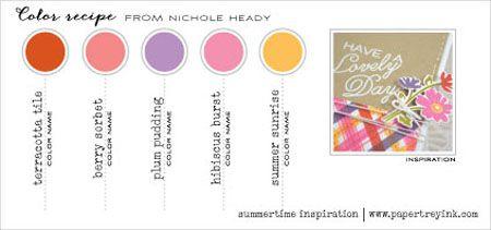 Summertime Inspiration May 2015 (Nichole Heady) - Terracotta Tile, Berry Sorbet, Plum Pudding, Hibiscus Burst, Summer Sunrise