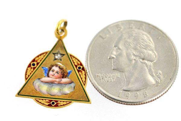 RARE Antique 18k Yellow Gold Enamel Cherub Diamond Pendant