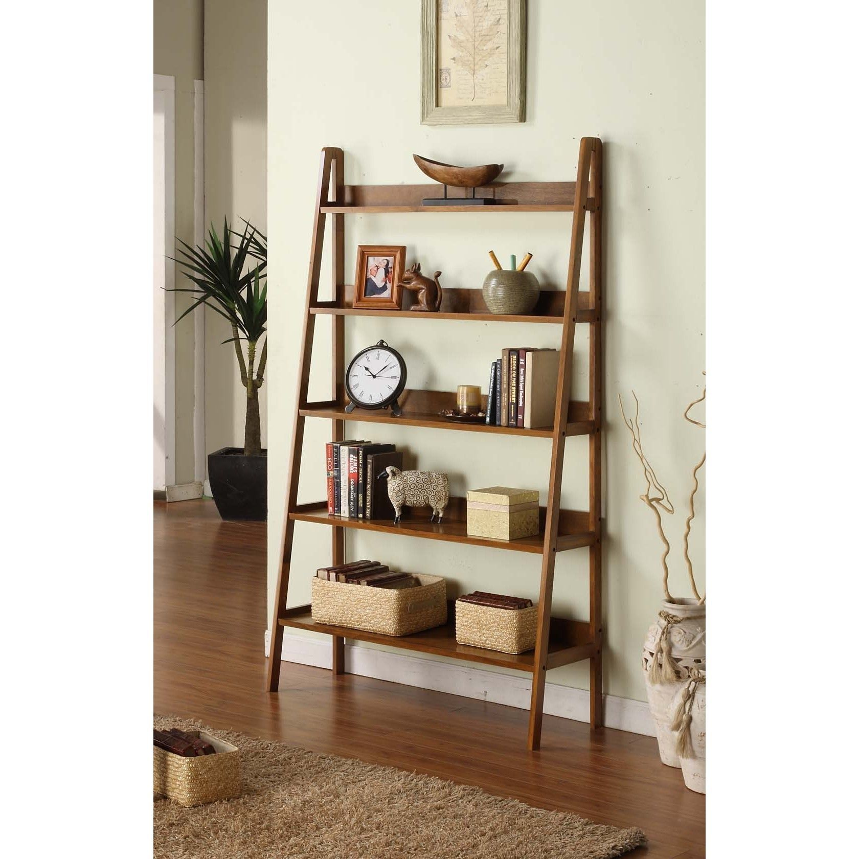 Contemporary walnut leaning ladder tier bookcase walnut finished