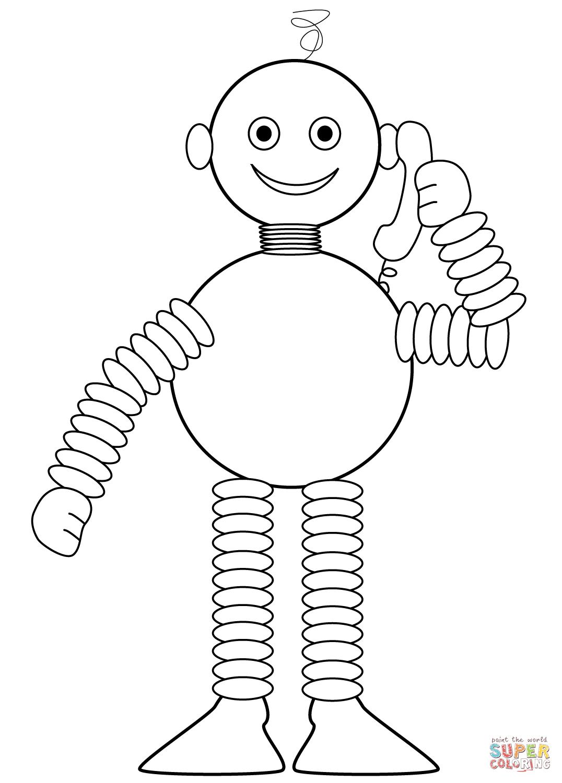 roboter spricht am telefon  super coloring  am telefon