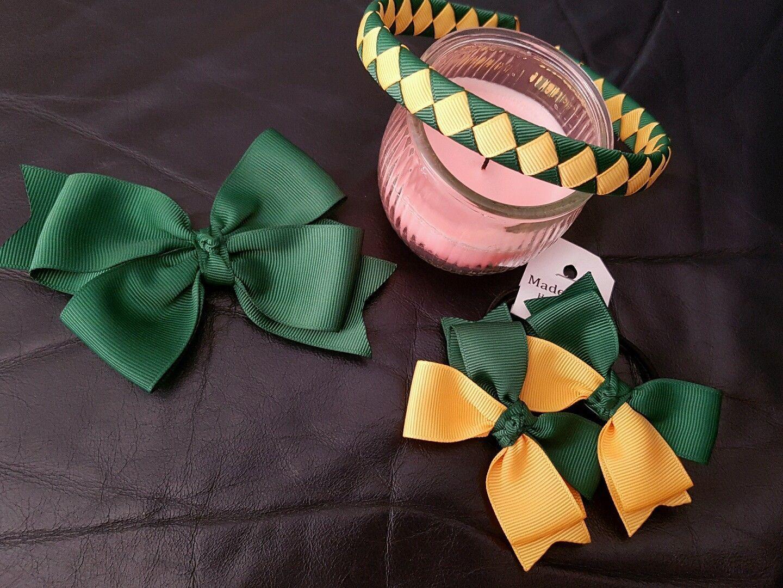 Handmade Girls  School Hair Bow Bobbles Navy //White Korker Sold In Pairs