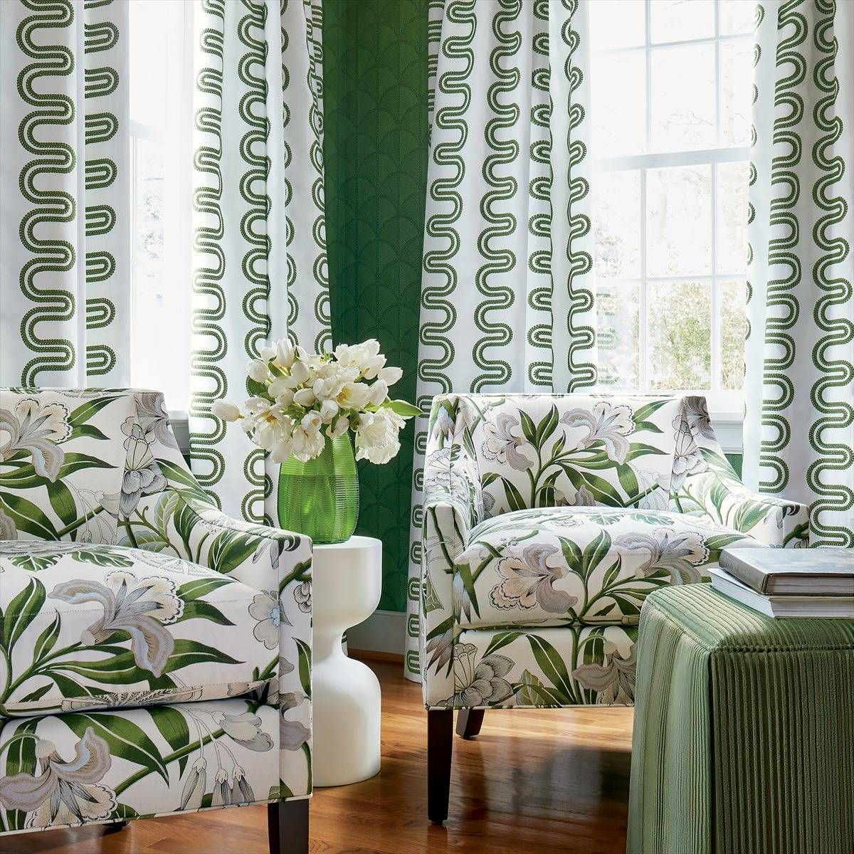 Anna French Herriot Way Embroidery Green on White Fabric