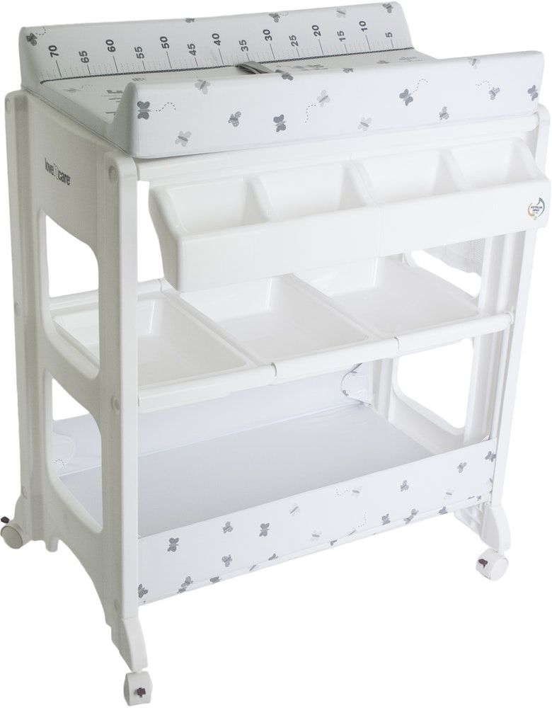 Multi Use Baby Diaper Changing Table Bath Changer Station With 4 Lockable Wheels