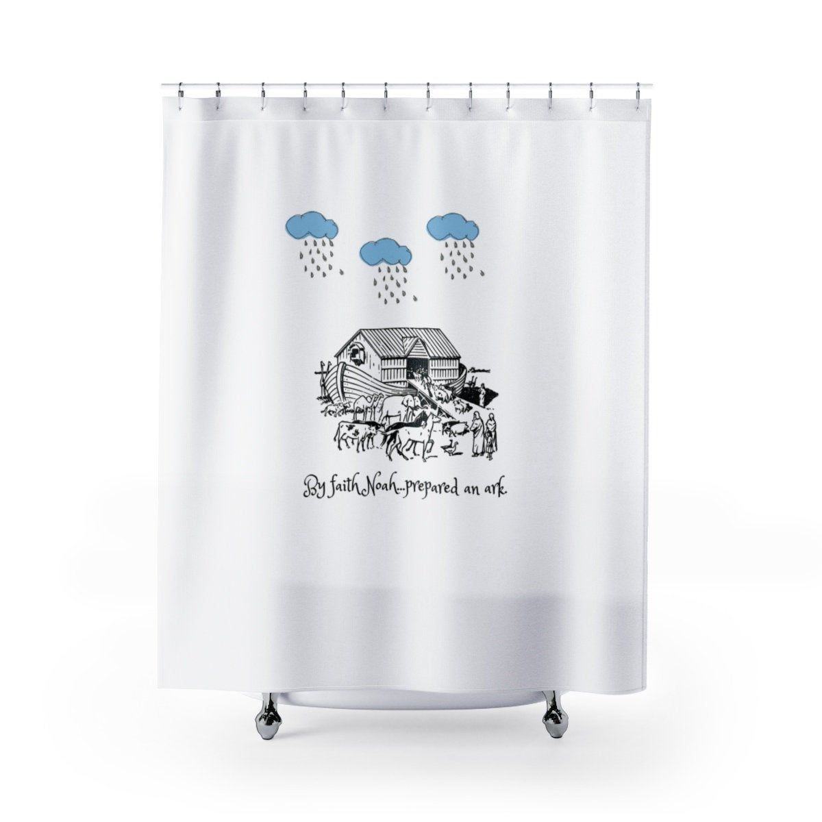 Noahs Ark Shower Curtain Bible Verse Shower Curtain Noahs Ark Bath Decor Kids Bible Shower Curtain Bible Verse Bath Decor Scripture Bath Set In 2020 With Images