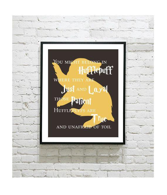"Harry Potter Digital Art Print - Hufflepuff House - Hogwarts - Hufflepuff Pride - Cedric - Pottermore - Loyalty - Friendship - 8""x10"" Print"