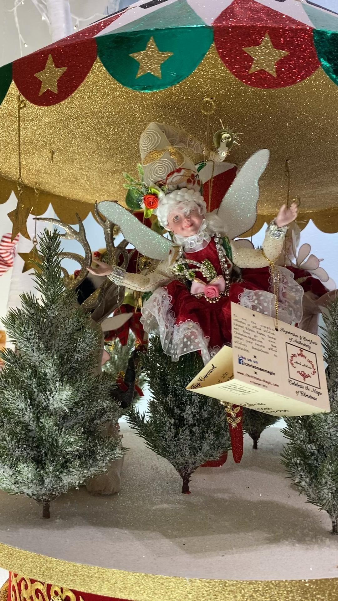 Includes limited edition fairies! #carousel #christmasdecor #markroberts #christmasdecorationideas    #mechanical