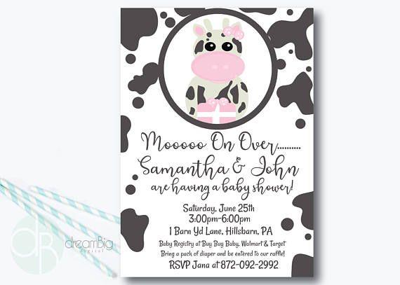 Cow Baby Shower Invitation Farm Pink Animal Western Rustic Sho