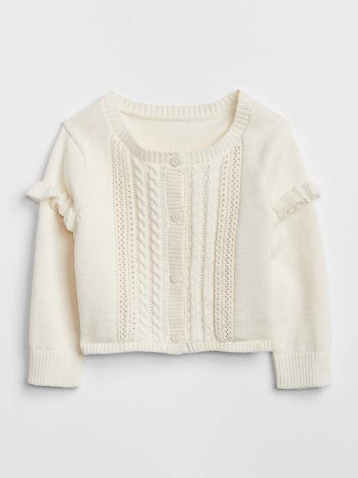 2bc727cb0 Gap Baby Ruffle Cardigan Sweater Ivory Frost