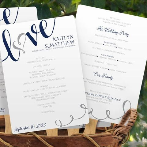 calligraphy wedding program fan