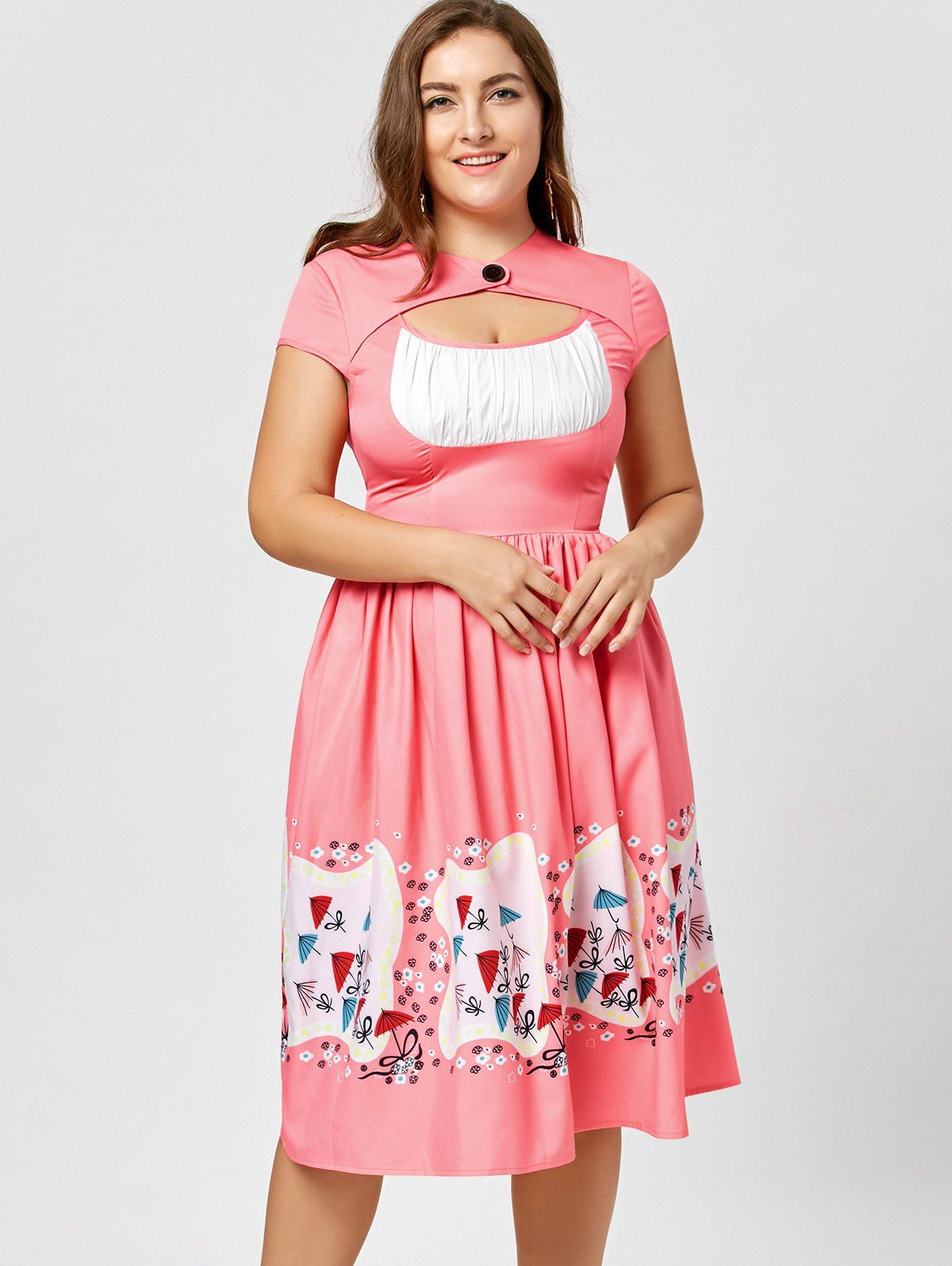 Plus size cut out printed midi dress peach red xl in top