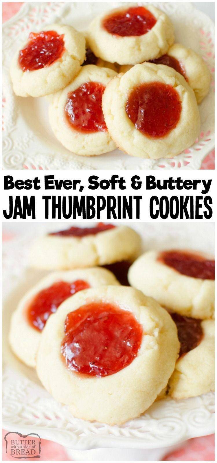 Easy recipe for Soft Jam Thumbprint Cookies perfect for the holidays! Buttery cookies with great flavor, filled with your favorite sweet jam. Perfect for Christmas cookie exchanges! from BUTTER WITH A SIDE OF BREAD