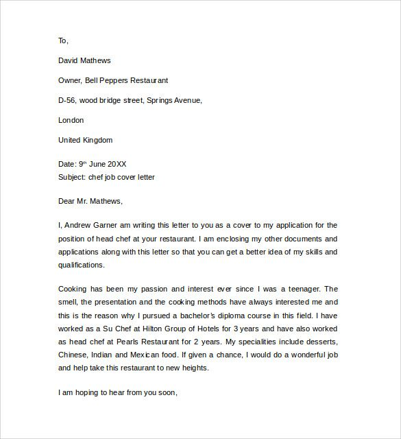 cover letter example for job download free documents pdf chef partie - Examples Of Resumes For Restaurant Jobs