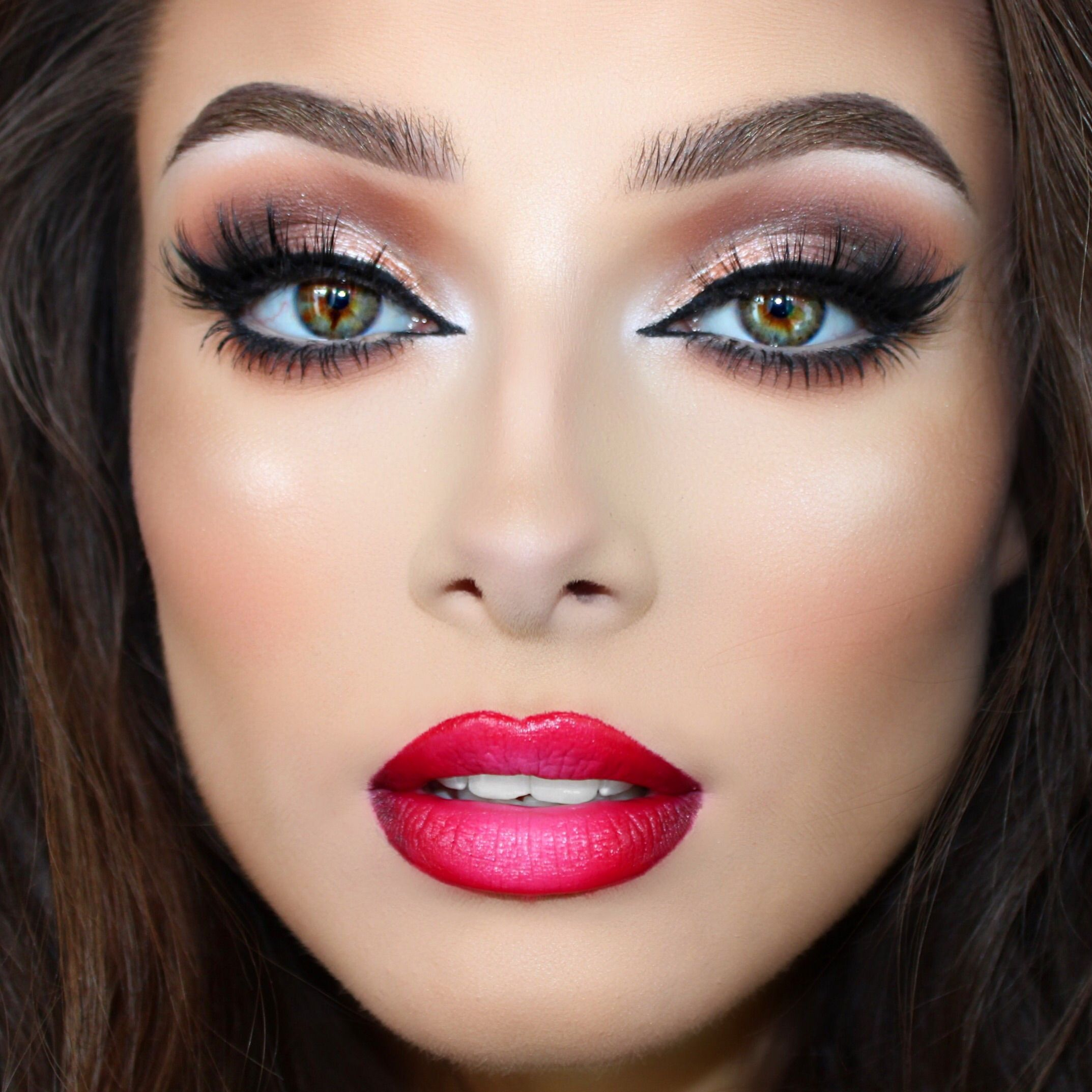 Check out our favorite Neutral shimmery eyes & red ombré