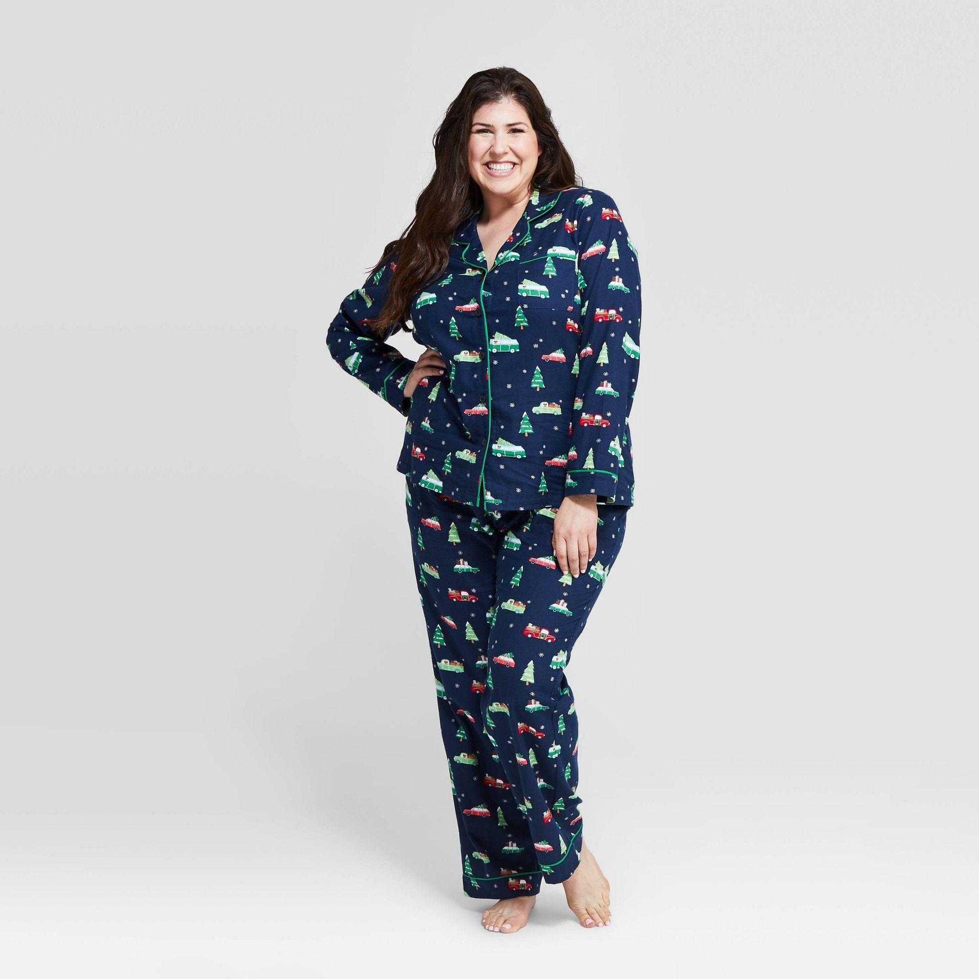 Women's Plus Size Holiday Car Flannel Pajama Set