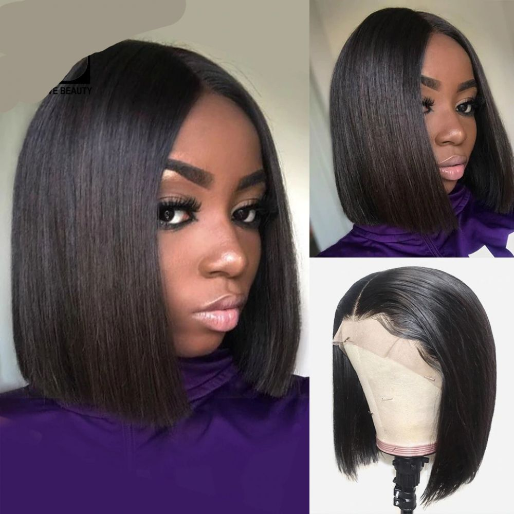 13x6 Short Lace Front Human Hair Wigs Brazilian Straight Bob Wig Pre Plucked Hairline With Baby Hair Lace Wig Front Lace Wigs Human Hair Human Hair Wigs Wig Hairstyles