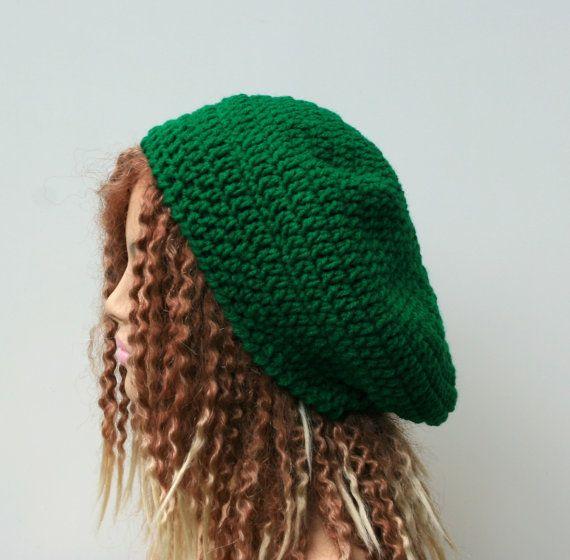 Irish green beret tam, slouchy beanie in Emerald Paddy St. Patrick ...